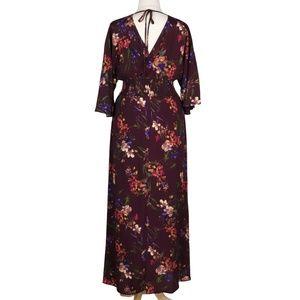 Oddi Dresses - Moody Florals 2X Plum Purple Long Boho Maxi Dress